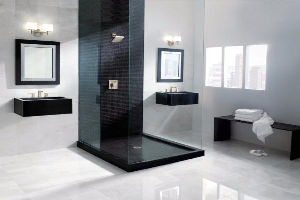 Elegant bathroom designs with black details