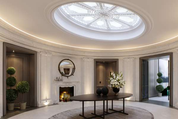 A penthouse with an oval office