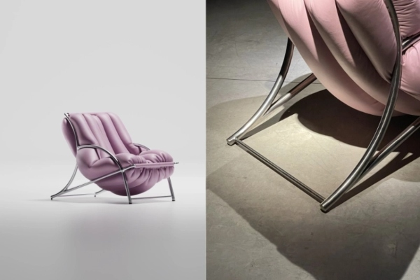 An armchair characterized by surreal beauty and attractiveness